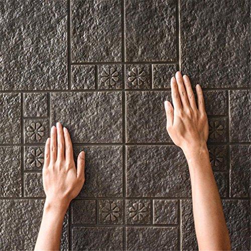 Sameno Wall Stickers New PE Foam 3D Wallpaper DIY Wall Decor Embossed Brick Stone (Black)