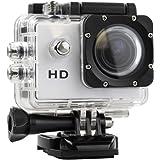 FOTO CAMERA VIDEOCAMERA DIGITALE SPORTS DA 5 MEGAPIXEL VIDEO HD 720P WATERPROOF IMPERMEABILE 30 METRI ACTION CAM PER SPORT ESTREMI, MOTO, BICI, SURF CON RELATIVI ACCESSORI CASCO MOTO BICI