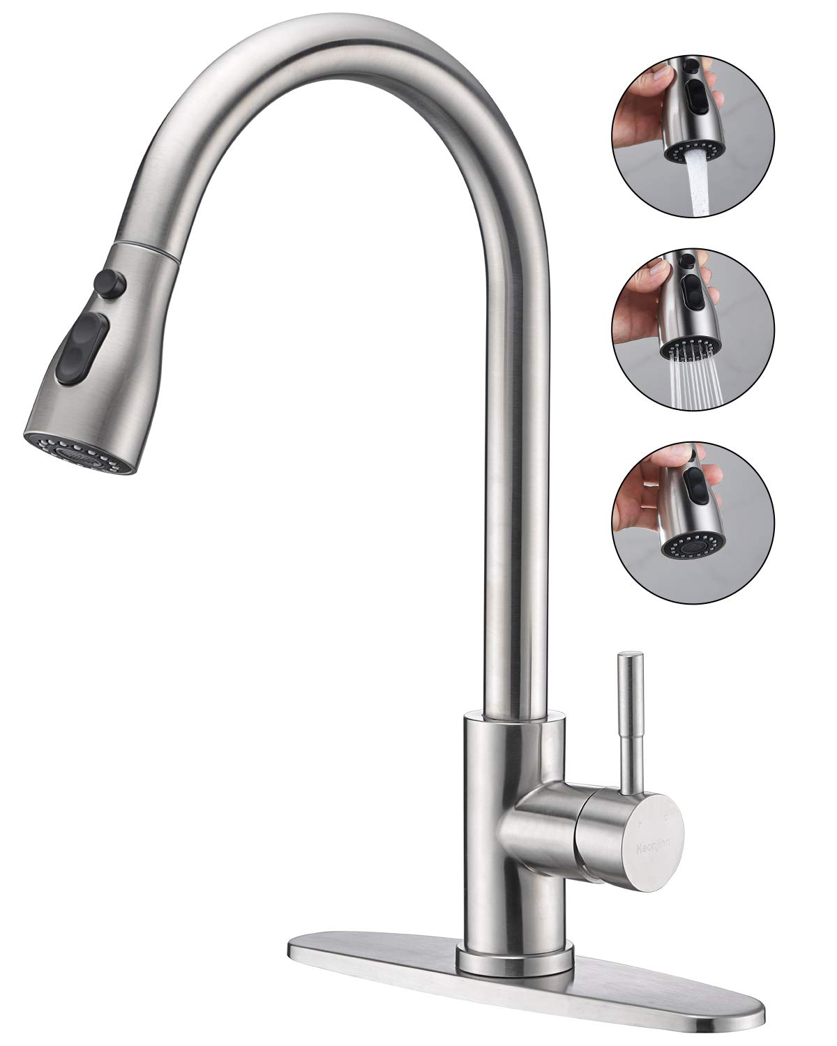 Keonjinn Stainless Steel Kitchen Faucets,High Arc Single Handle Pull out Brushed Nickel Kitchen Faucet,Single Level with Pull down Sprayer by Keonjinn