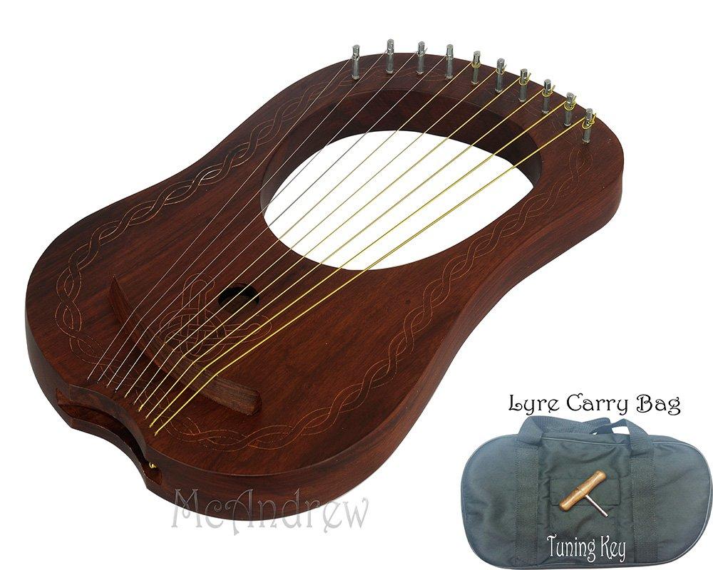 McAndrew Lira (Arpa 10metal cuerdas en Rosewood acabado Natural libre juego de cuerdas Albana Musics