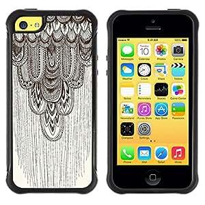 Suave TPU GEL Carcasa Funda Silicona Blando Estuche Caso de protección (para) Apple Iphone 5C / CECELL Phone case / / pencil drawing art beige pattern feather /