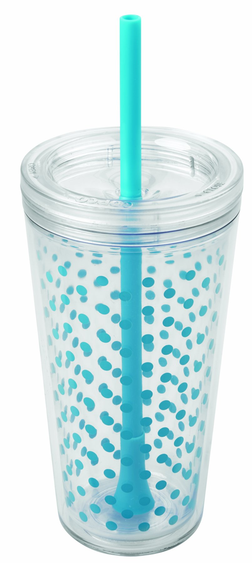 Copco 2510-0430 Minimus Double Wall Insulated Tumbler with Removable Straw, 24-Ounce, Cyan Blue Dots