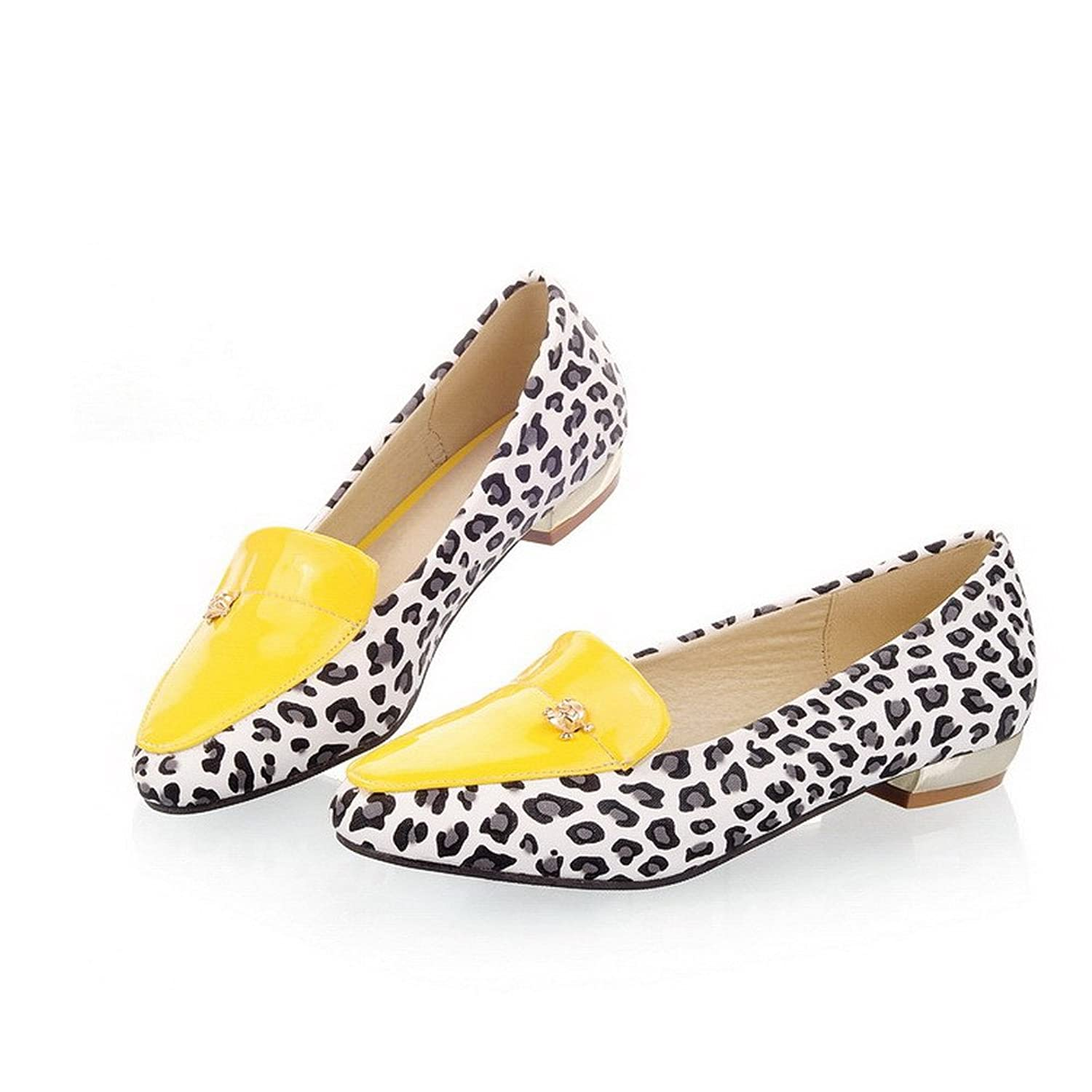 6c7b76c9a7a new WeiPoot Womens Closed Pointed Toe Low Heel Patent Leather PU Animal- print Pumps with