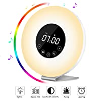 Wake Up Light Despertador con Luz - AUELEK LED Lámpara Luces-despertador, Simulación de Amanecer y Atardece, Función Snooze, 7 Luces LED de Colores, Radio FM, 6 Sonidos Naturales,10 Niveles de Brillo