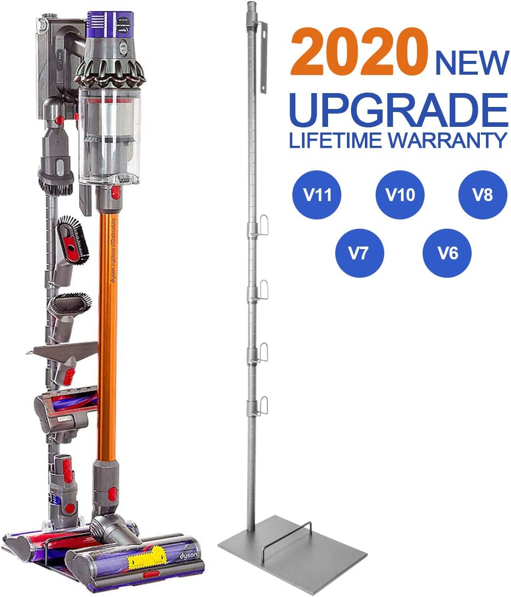 Vacuum Stand for Dyson V11 V10 V8, Storage Stand Docking Station Holder for Dyson V11 V10 V8 V7 V6 Cordless Vacuum Cleaners & Accessories, Stable Metal Organizer Rack, Silver Gray