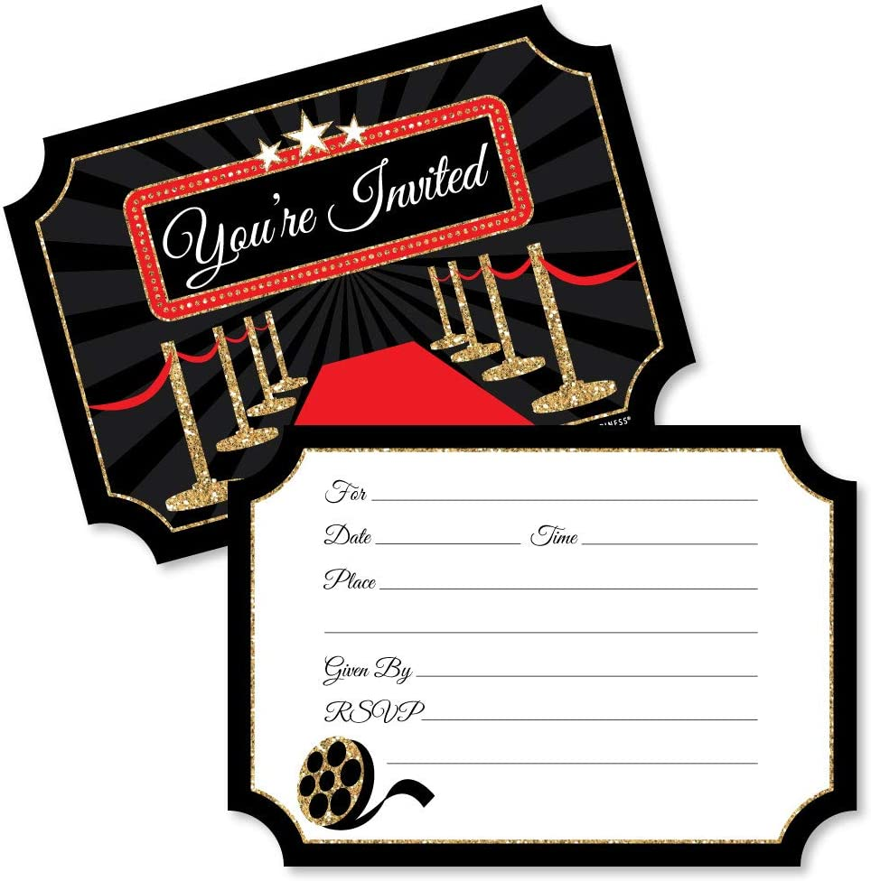 Big Dot of Happiness Red Carpet Hollywood   Shaped Fill in Invitations    Movie Night Party Invitation Cards with Envelopes   Set of 30
