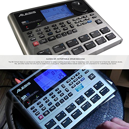 Alesis SR18 18 Bit Portable Drum Machine with Effects and Deluxe Bundle w/Microphone + Headphone + Cables + Fibertique + Batteries + Mic Stand & Windscreen  by Photo Savings (Image #1)