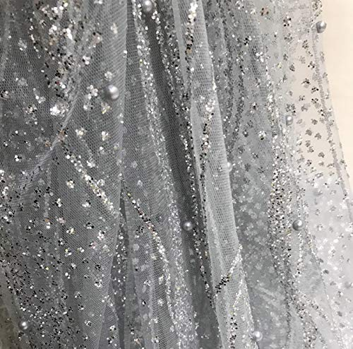 Length 118 Inches Width 51 Inches Wavy Striped Sequin Mesh Gilded Fabric Voile Dress Fabric Fancy Costumes Decorations Beaded Pearl Mesh Fabric (Silver) ()