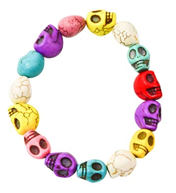 Amazon.com: Mixed Color Skull Loose Bead Turquoise Chain Rock ...