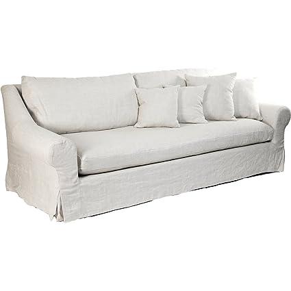 Coastal Beach Montauk Antique Linen White Sofa