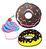 PP patch Set 3 Cupcake Red Cherry patch , Brown Doughnut Donut patch , Chocolate Donut Sweet Candy patch DIY Applique Embroidery Iron on Patch