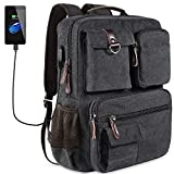 School Backpack Vintage Canvas Laptop Backpacks Men Women Bookbags with USB Charging Port
