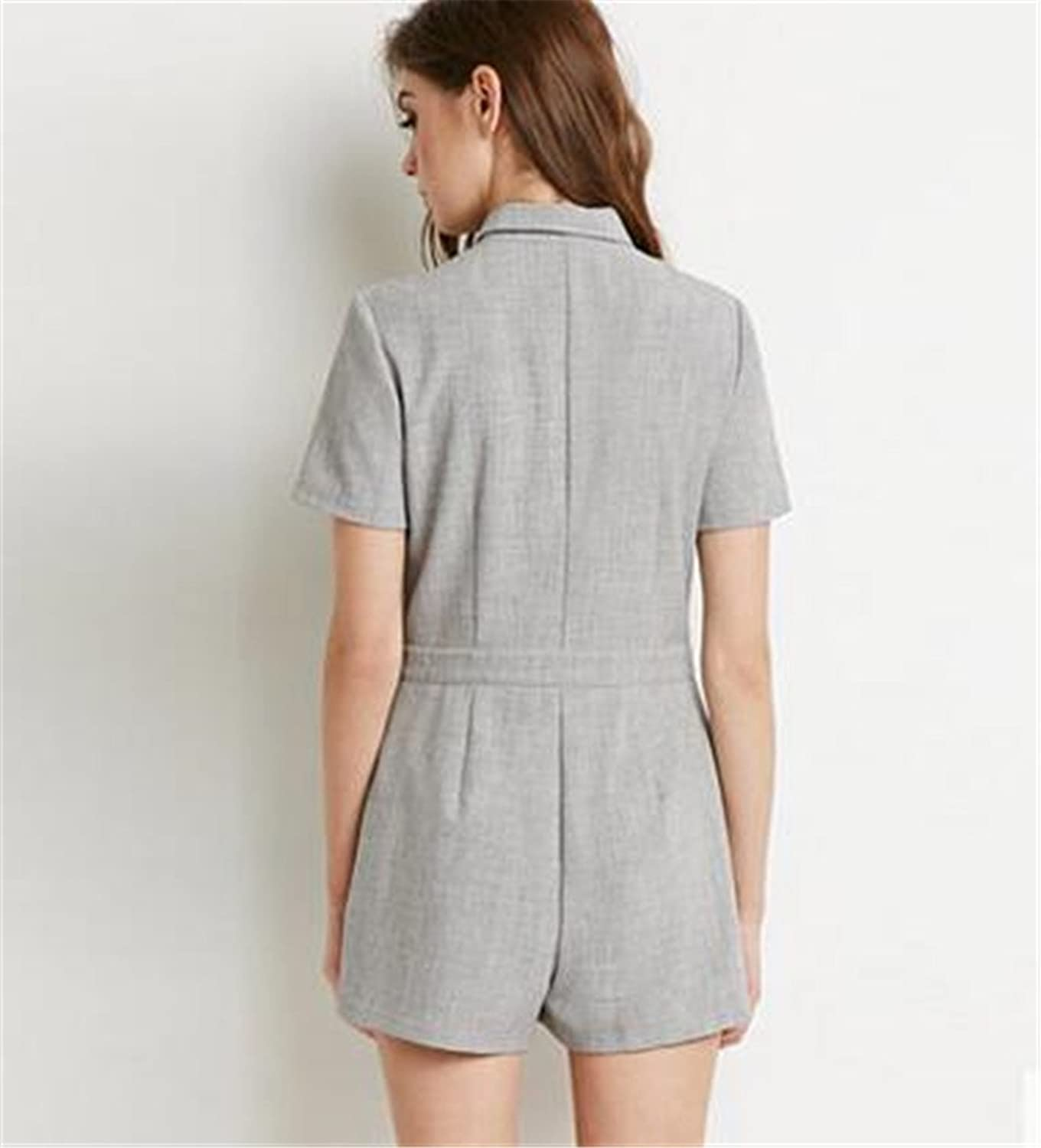 Womens Vintage Casual Short Sleeve Double Pockets Lapel Jumpsuit Rompers Shorts