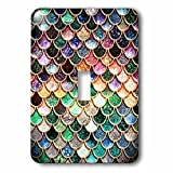 3dRose Uta Naumann Faux Glitter Pattern - Multicolor Girly Trend Pink Luxury Elegant Mermaid Scales Glitter - Light Switch Covers - single toggle switch (lsp_272865_1)