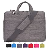Laptop Case, Laptop Shoulder Bag, CROMI 13 - 13.3 Inch Simplicity Slim Briefcase Commuter Bag Business Sleeve Carrying Handle Bag Nylon Waterproof Notebook Shoulder Messenger Bag (Stripe Grey)