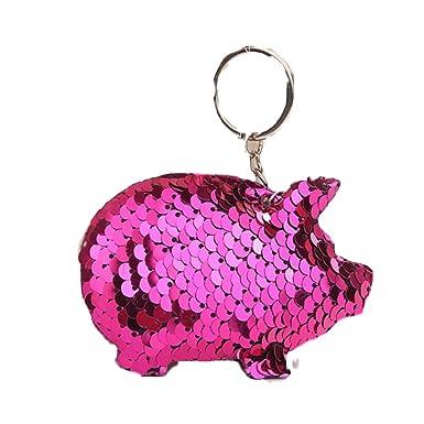AGGIEYOU Cerdo lindo Llavero Glitter Pompom Sequins Llavero ...