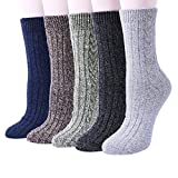 YSense 5 Pairs Womens Knit Warm Casual Wool Crew Winter Socks (A-03 (5 Pairs))