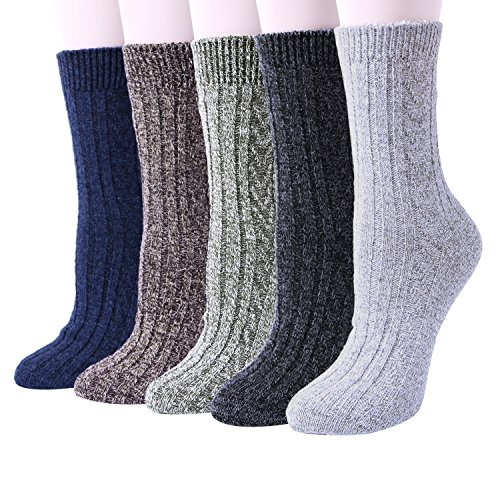 YSense 5 Pairs Womens Knit Warm Casual Wool Crew Winter Socks (A-03 (5 Pairs)) (Cotton Wool Socks)