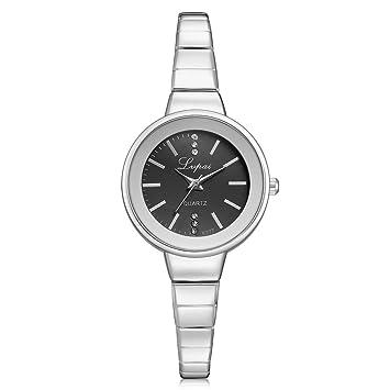 Reloj de la Joyería de las Mujeres Relojes Elegantes de la Pulsera del Movimiento del Cuarzo de la Aleación Rhinestones del Reloj(Argento-Nero): Amazon.es: ...