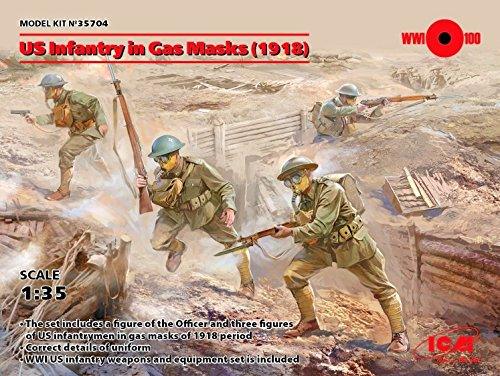 US INFANTRY IN GAS MASKS 1918 ICM 35704 PLASTIC MODEL KIT WITH 4 FIGURES 1/35