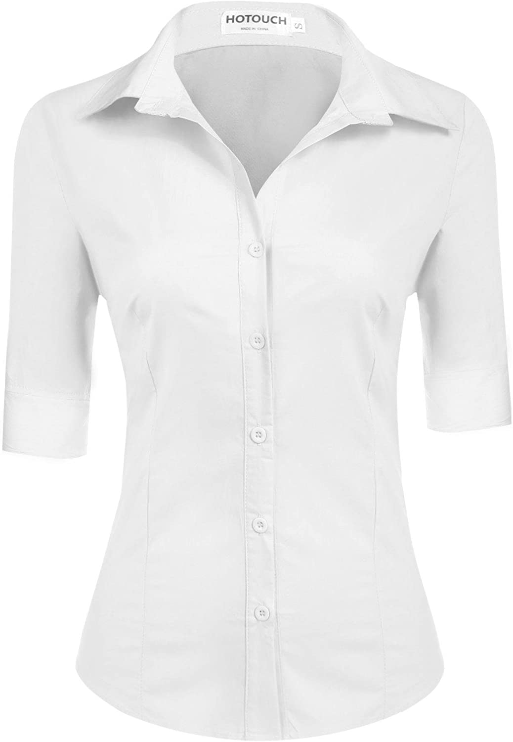 Hotouch Womens 3/4 Sleeve Basic Button Down Shirt Slim Fit Cotton Dress Shirts at  Women's Clothing store