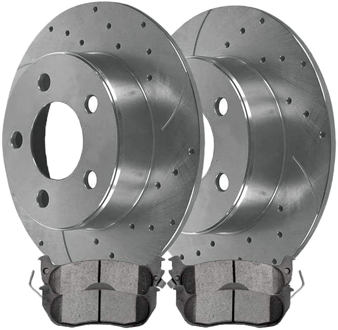 Auto Shack BRKPKG039813 Front and Rear Drilled and Slotted Silver Brake Rotors and Semi Metallic Pads