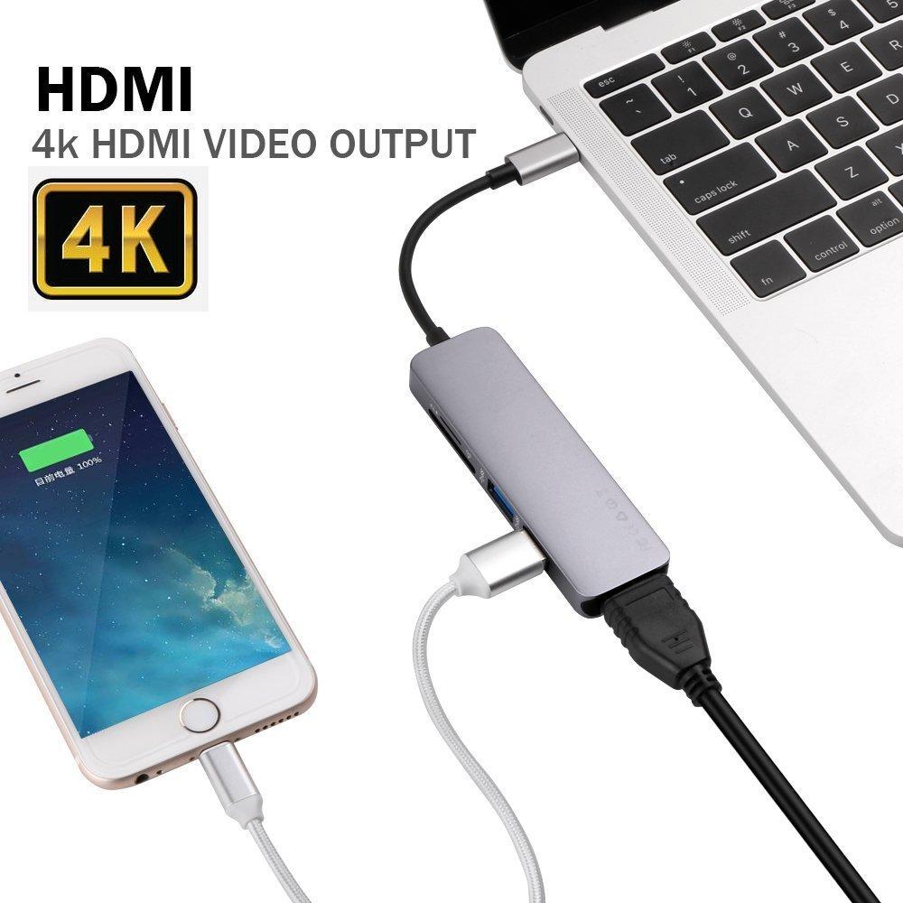 USB C Hub,Topoint 5 in 1 Type C USB 3.1 Adapter bis HDMI 4K-Adapter mit 2 USB 3.0 Anschlüsse SD / TF-Kartenleser für neues MacBook / MacBook Pro 2015/2016/2017, andere USB-C-Port Ausgerüstet Devices