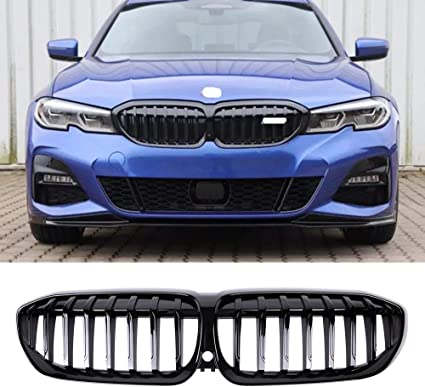 Fandixin G20 Grille ABS Front Kidney Grill Front Bumper Hood Grill Single Slat for BMW 3 Series G20 All Model Gloss Black