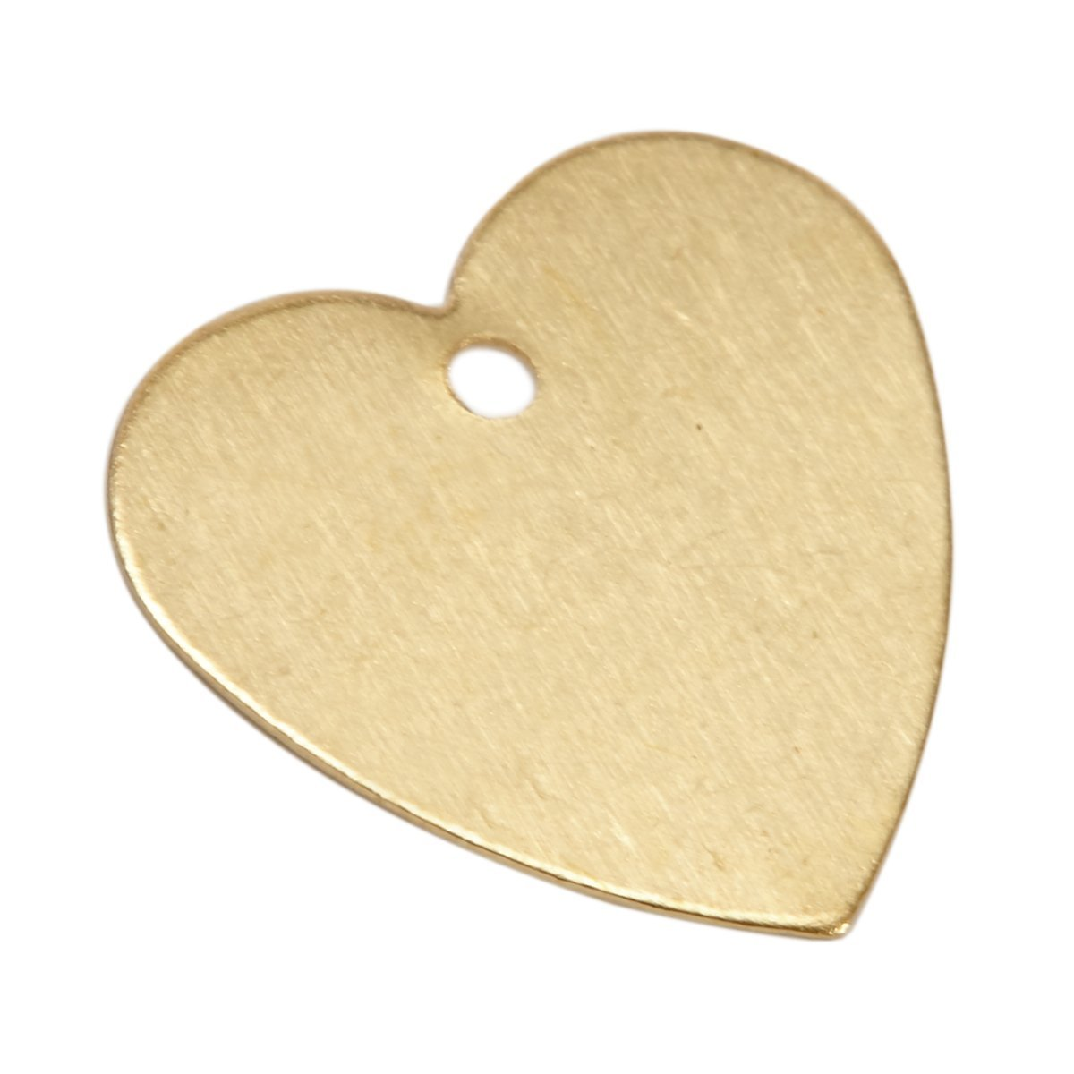 100 Brass Heart Metal Stamping Blanks with Hole 13mm X 13mm Heart Metal Blanks