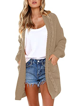Huiyuzhi Womens Cardigan Sweaters Oversized Knit Open Front Chunky  Boyfriend Cardigans Coats with Pockets at Amazon Women s Clothing store  1a9ee158a