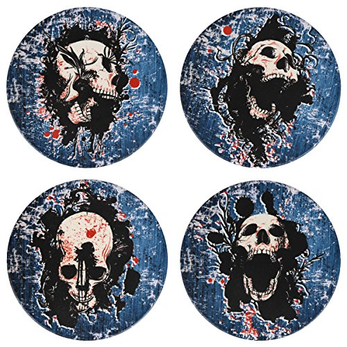 SxinHome Cool Halloween Skull Coasters for Drinks, Absorbent Ceramic Stone Coasters Set of 4,Blue (Cool Halloween Drinks)