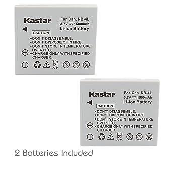 Kastar - Batería y Cargador para Canon NB-4L Batería de NB4L ...
