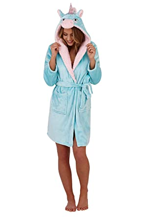 Loungeable Boutique Womens Unicorn Hooded Dressing Gown Aqua - Medium - UK  12-14 522318a9e