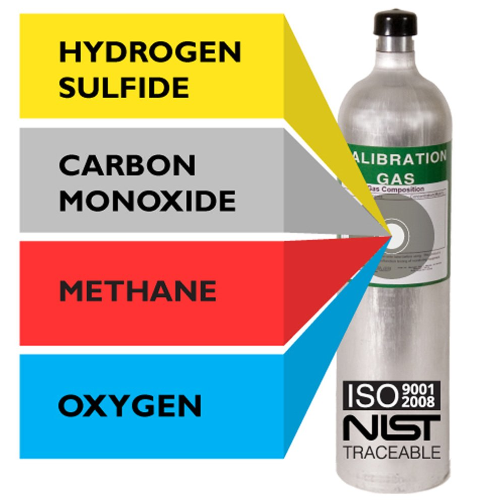 Multi Calibration Gas Mix: 25 PPM Hydrogen Sulfide, 100 PPM Carbon Monoxide, 2.5% (50% LEL) Methane, 18% Oxygen, Balance Nitrogen (116 Liter)