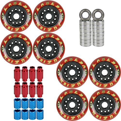 Labeda Wheels Inline Roller Hockey Fuzion 72mm XSOFT Micro Red 8 Pack W/Bearings