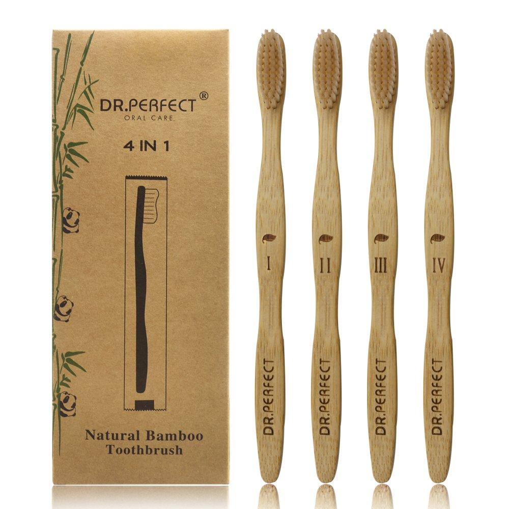 Dr.Perfect Natural Bamboo Toothbrush [4-Pack] Medium Soft Natural Bristles Individual Sealed Bag Packing (Beige)