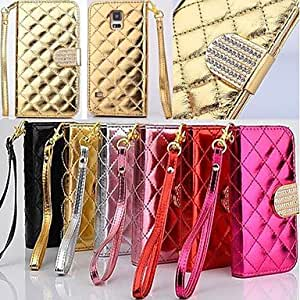 YULIN Wallet Style Grid Design Pattern PU Full Body Cover with Stand and Card Slot for Samsung Galaxy Note 4 (Assorted Colors) , Golden