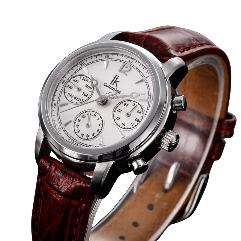 GuTe出品 シルバーにホワイト トリプルカレンダー 革バンド ブラウン カジュアル 上品 機械式 自動巻き レディース腕時計 B015CBM9Z0