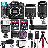 Holiday Saving Bundle for D7100 DSLR Camera + 55-200mm VR II Lens + AF-P 18-55mm + Battery Grip + Shotgun Microphone + LED Kit + 2yr Extended Warranty + 32GB Class 10 Memory - International Version