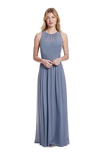 Samantha Paige Bateau Neckline Illusion Detail Pleated A-Line Chiffon Formal Dress