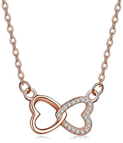 89b3cdeac08b Infinite U Símbolo del Infinito de corazones entrelazados plata de ley 925  Circonita Colgante Collar para las mujeres niñas
