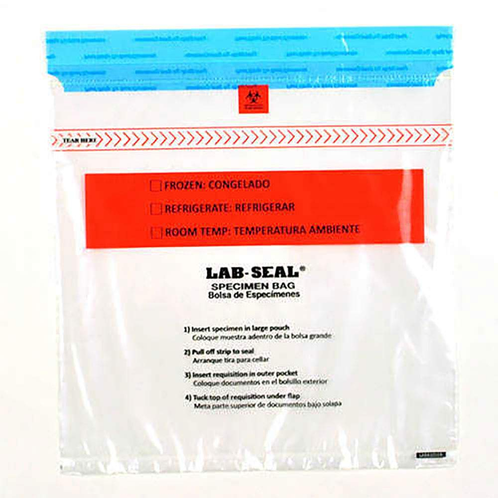 1.8 mil 13'' x 18'' Lab-Loc Specimen Bags with Removable Biohazard Symbol