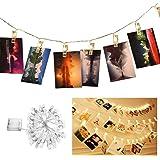 ANKEY LED Foto Clip Lichterkette,20 Photo Clips 2,2 Meter/7,21 Füße Stimmungslichter mit Acht Mode Schalter für Party, Weihnachten, Dekoration,Hochzeit (Warmweiß) batteriebetrieben LED Lichterketten