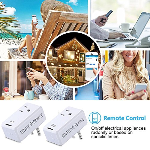Smart WiFi Outlet Socket, BOSCHENG Wireless Outlet Switches Remote Control WiFi Timing Socket for Household Appliances, Works with Amazon Echo Alexa & Google Assistant (2 PCS) by BOSCHENG (Image #4)