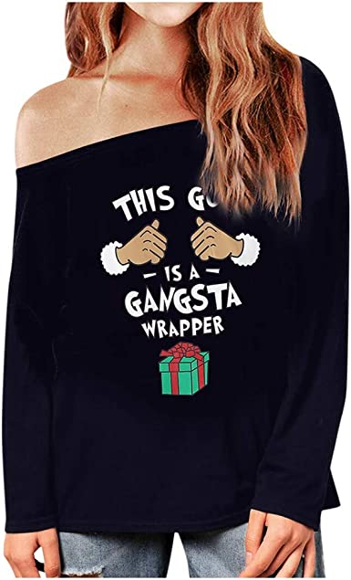 Sudadera Mujer Blusa de Navidad LMMVP Camisa Estampada de Letras Manga Larga Blusa Cálida de Navidad para Mujer Top de Moda: Amazon.es: Ropa y accesorios