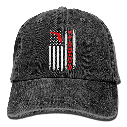 WE9SAW Vintage Florida State America Flag Men Women Cotton Yarn-Dyed Denim Outdoor Sports Hat Adjustable Jeans Baseball Hat (Confederate Flags Cotton)