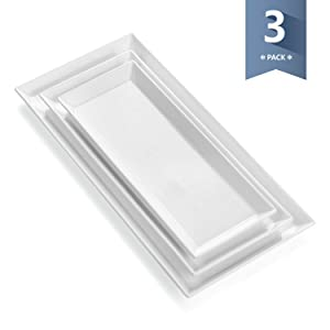 Sweese 706.101 Porcelain White Platters, Rectangular Serving Trays for Parties, Set of 3, Large, Medium, Small Size