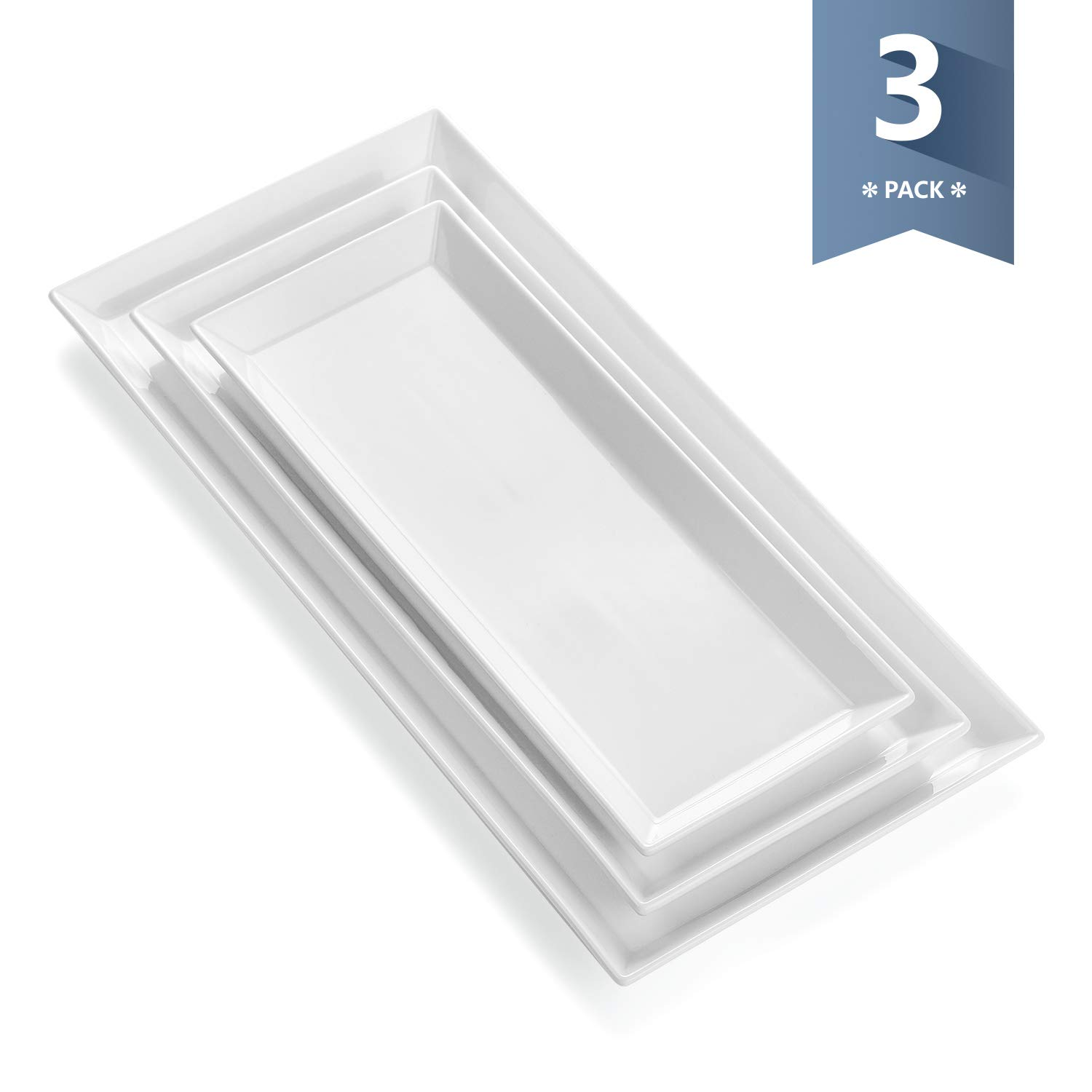 Sweese 3308 Porcelain Rectangular Platters/Serving trays for parties, Set of 3, Large/Medium/Small Size, White