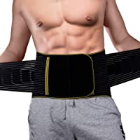 GENERAL ARMOR Back Brace Support - Quality Lumbar Support Belt with Double Banded Strong Adjustable Compression Pull Straps, Breathable - for Gym, Posture, Back Pain Relief, Men & Women