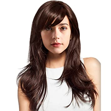 Amazon.com   BLONDE UNICORN Natural Long Human Hair Wig for Women Wavy Hair  Wig with Bangs Dark Brown Hair Wigs   Beauty 0537c4e875
